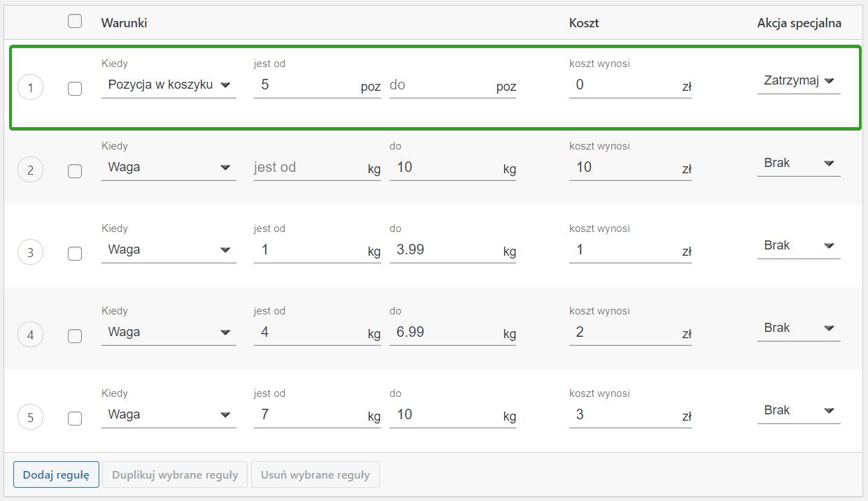 Rezultat w oparciu o liczbę pozycji w koszyku