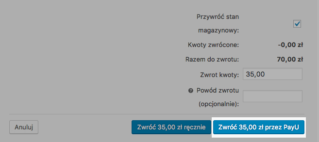 Integracja WooCommerce PayU – automatyczne zwroty,