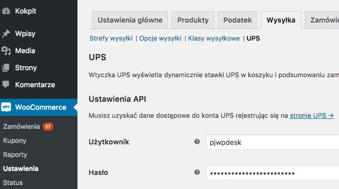 WooCommerce UPS - ustawienia