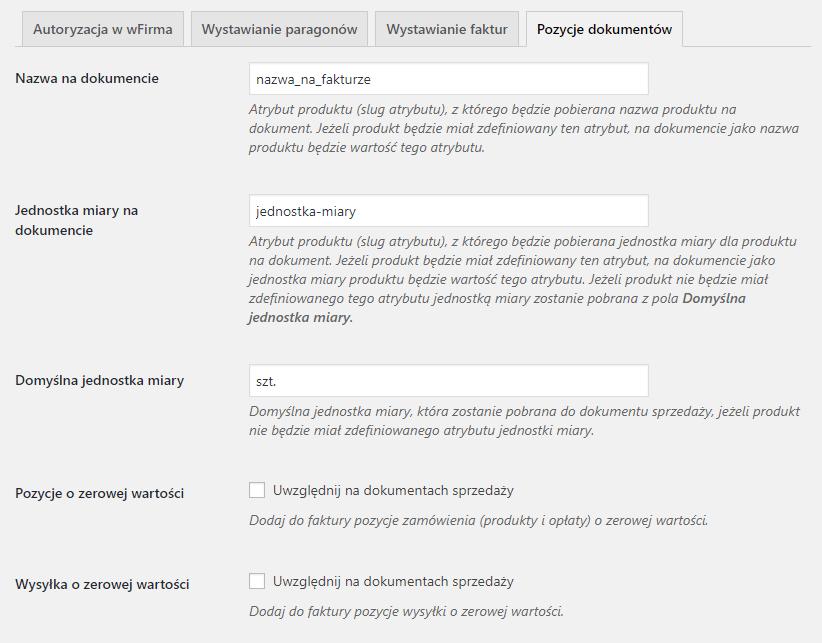 Pozycje dokumentów - konfiguracja wFirma