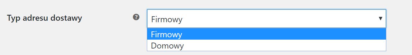 Typ adresu dostawy w WooCommerce UPS
