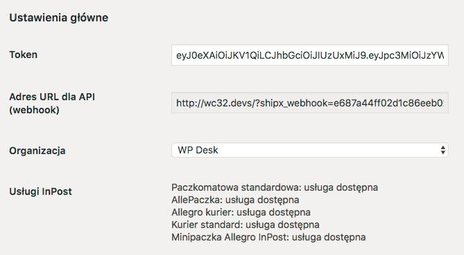 Ustawienia główne wtyczki InPost WooCommerce