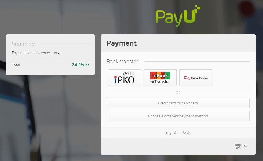 Płatność bankowa wPayU Sandbox