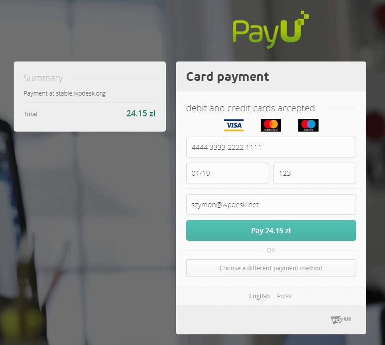 Płatność testowa kartą - PayU