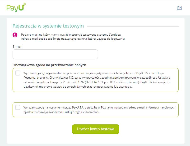 Rejestracja w PayU Sandbox
