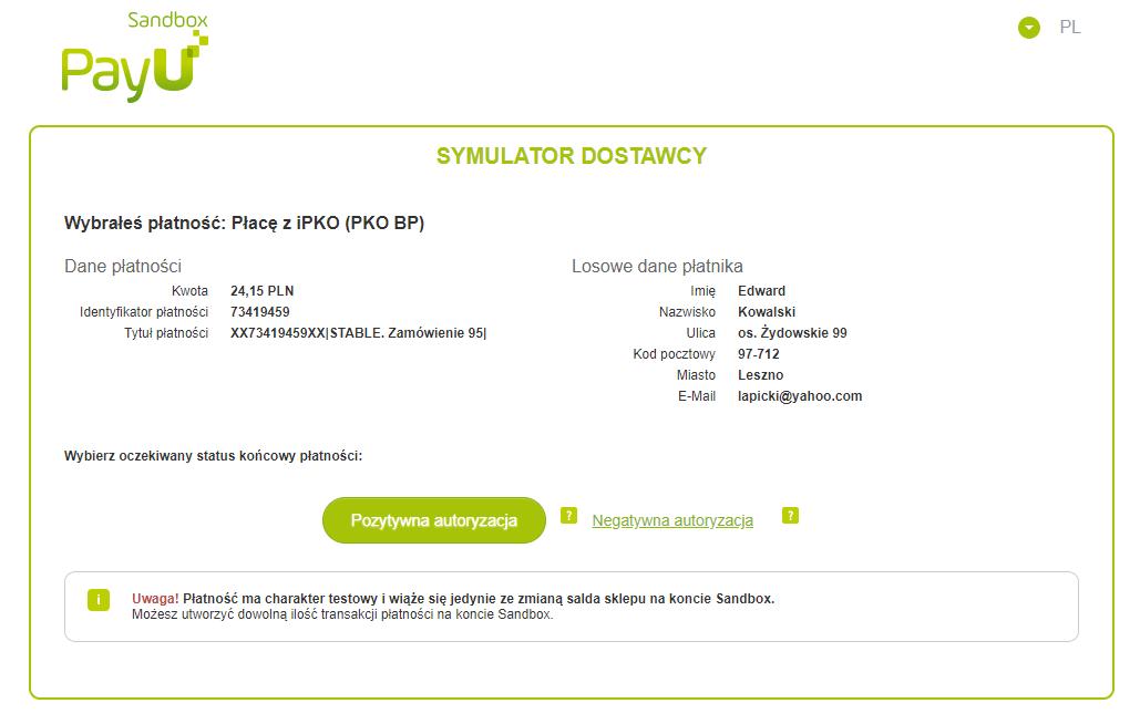 Symulator płatności PayU Sandbox