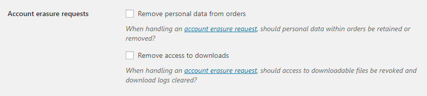 Ustawienia usuwanych danych