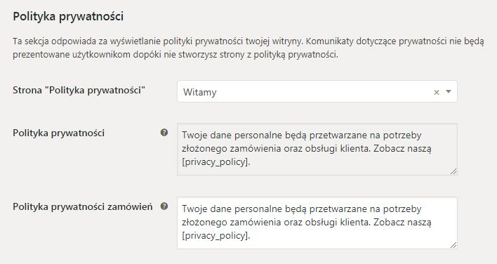 Ustawienia WooCommerce RODO: polityka prywatności