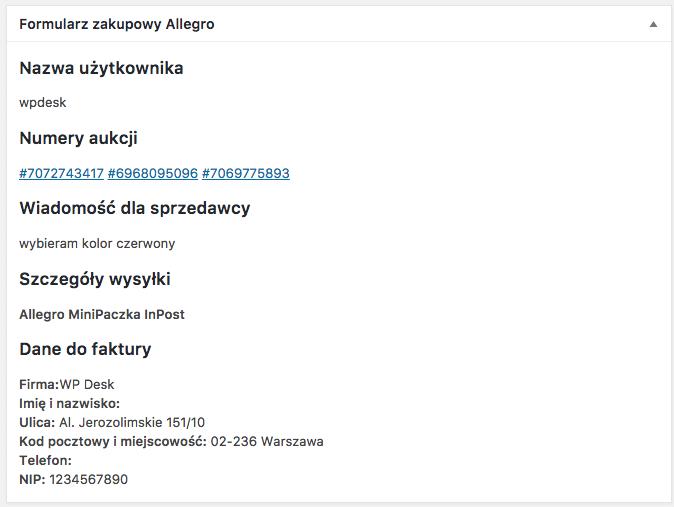 Allegro WooCommerce - formularz zakupowy