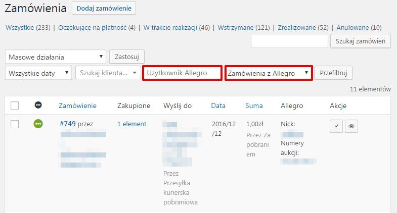 Allegro WooCommerce - zarządzanie zamówieniami