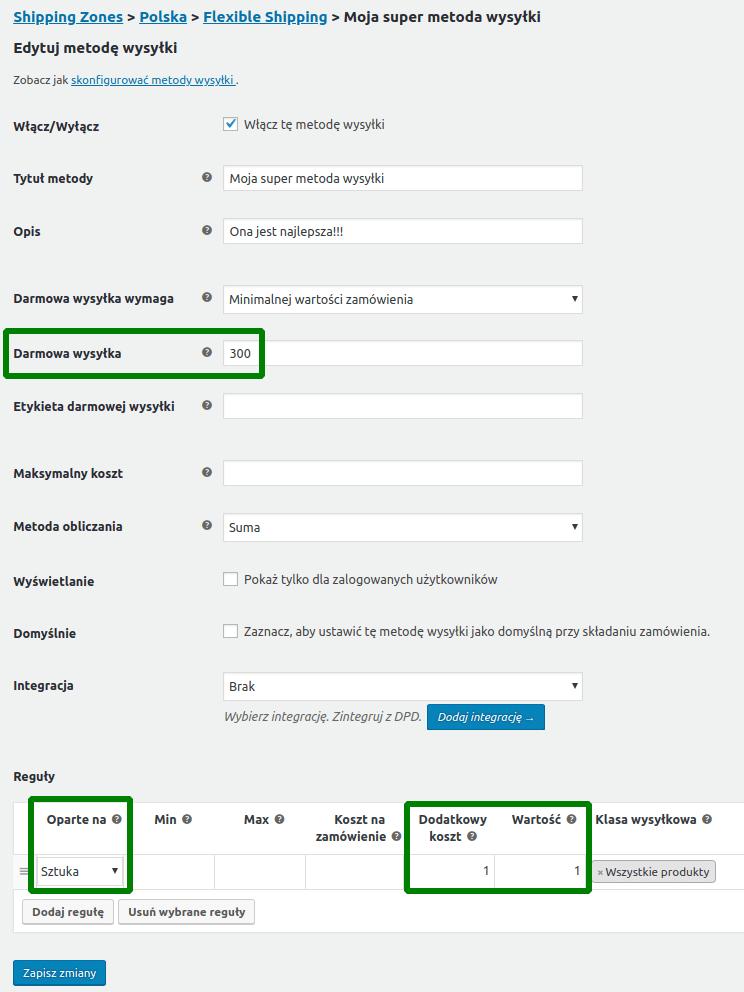 Drugi przykład konfiguracji Flexible Shipping