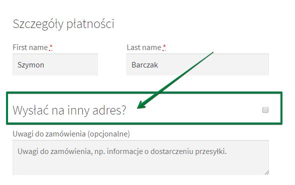 Wysyłka na inny adres - opcja na stronie zamówienia