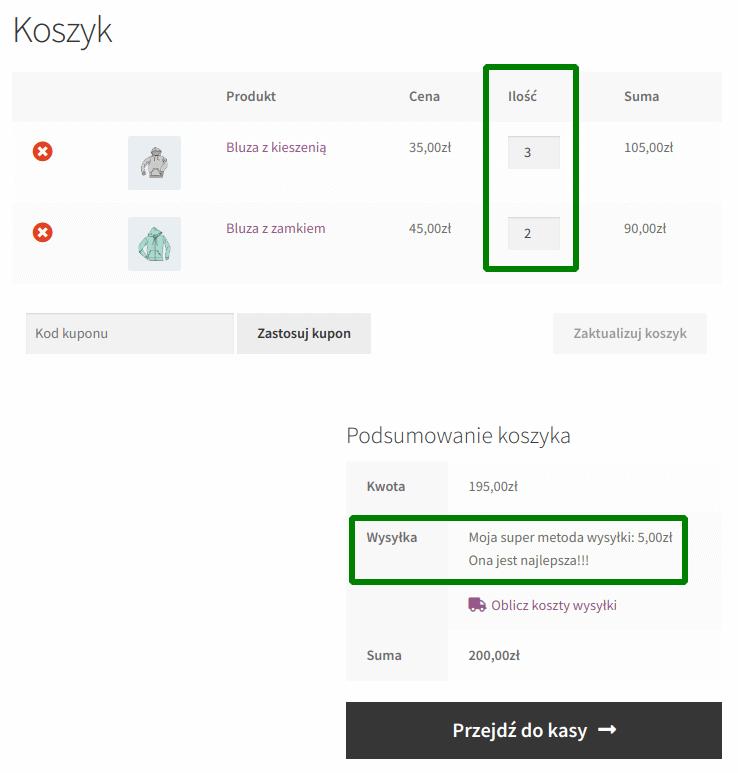 koszt wysyłki na podstawie liczby produktów: 5 produktów