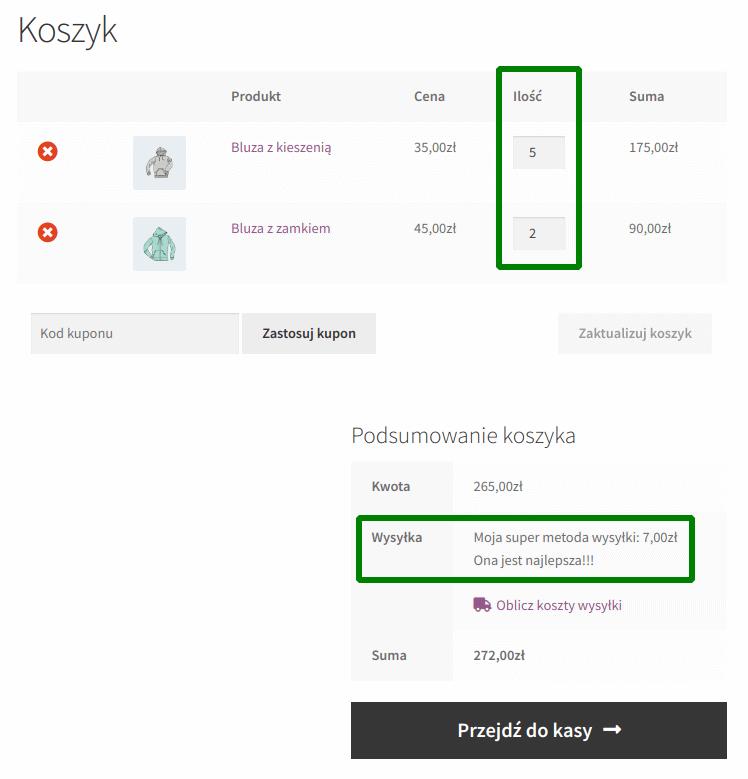koszt wysyłki na podstawie liczby produktów: 7 produktów