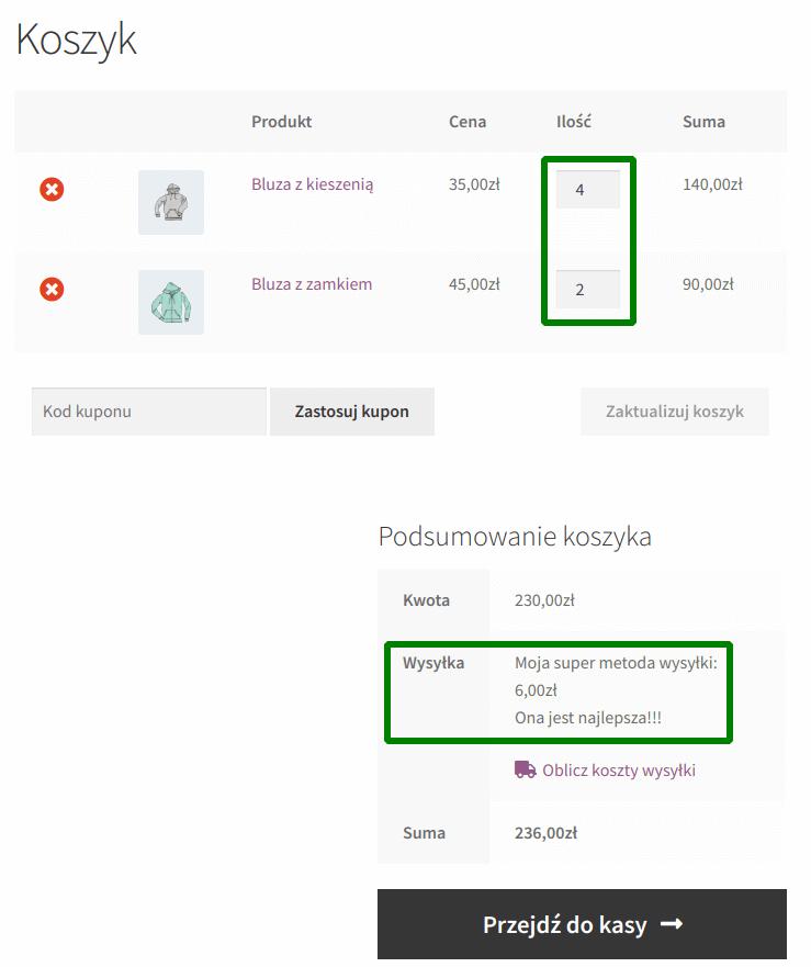 Wysyłka: dwa produkty w koszyku