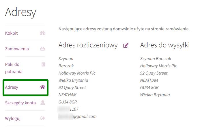 Strona Moje konto: Adresy