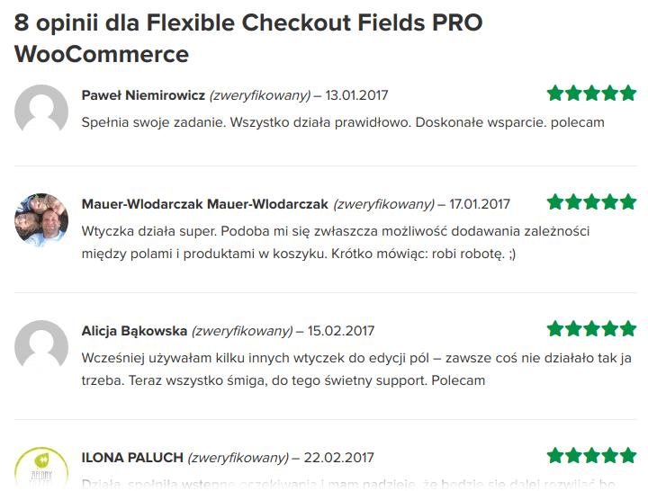 Opinie na temat wtyczki Flexible Checkout Fields
