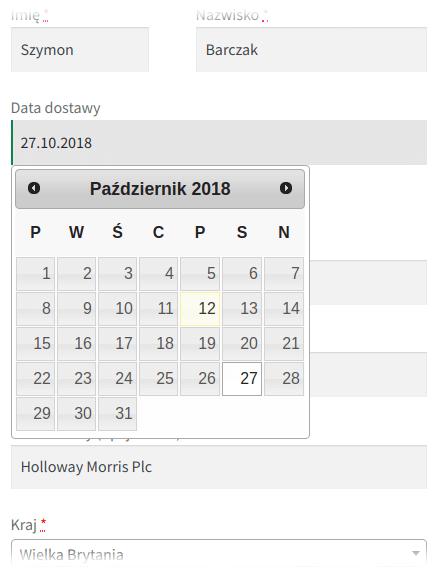 Data dostawy - selektor daty