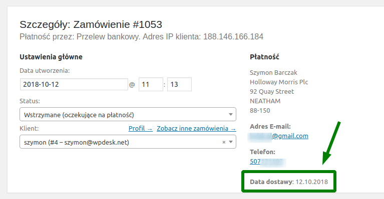 Data dostawy w zamówieniu