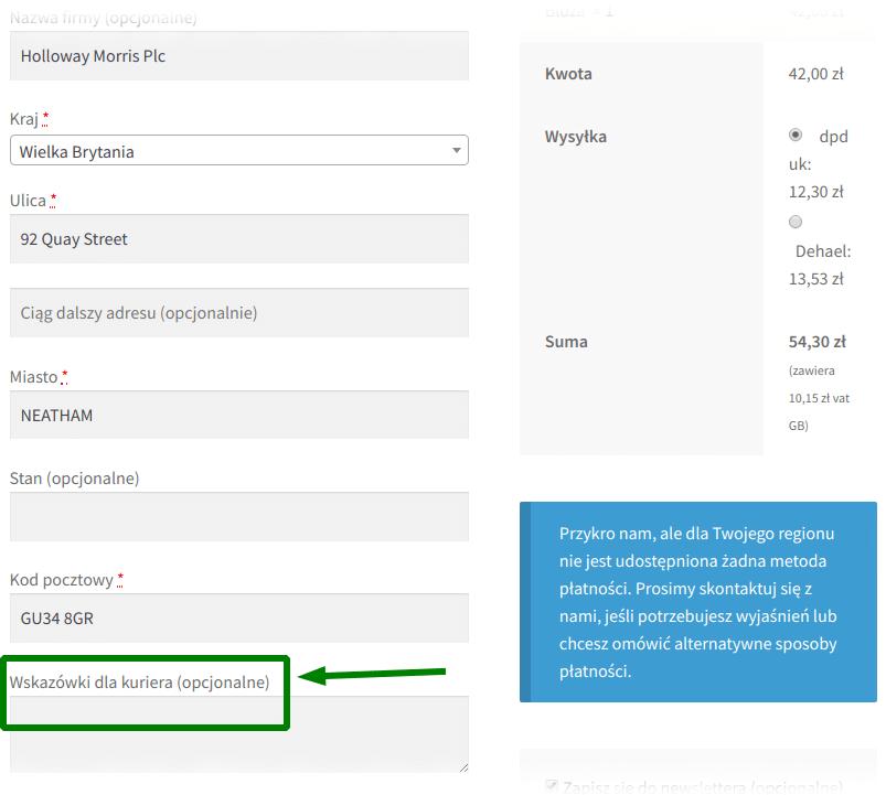 Strona zamówienia: wskazówki dla kuriera