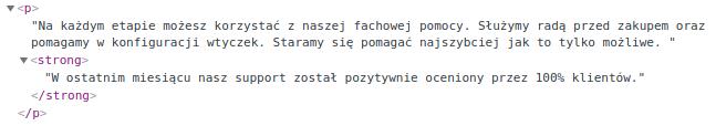Kod HTML: znacznik <p>