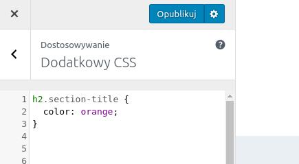 Custom CSS: zmiana koloru tekstu na pomarańczowy