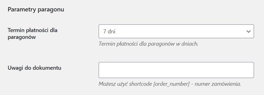 Parametry paragonu