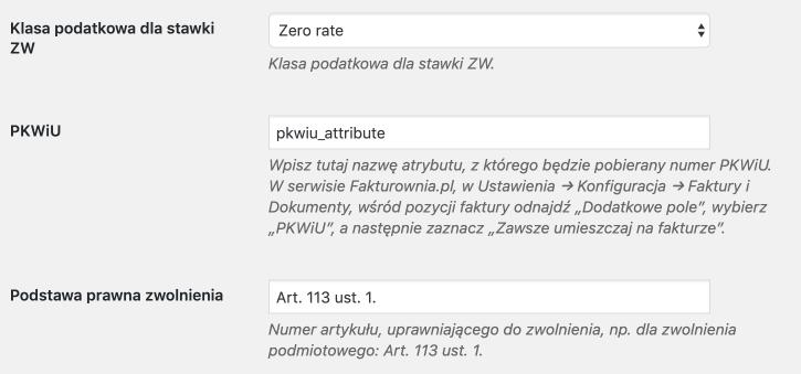 Fakturownia - stawka ZW