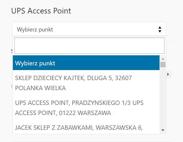 Wybranie punktu odbioru UPS Access Point