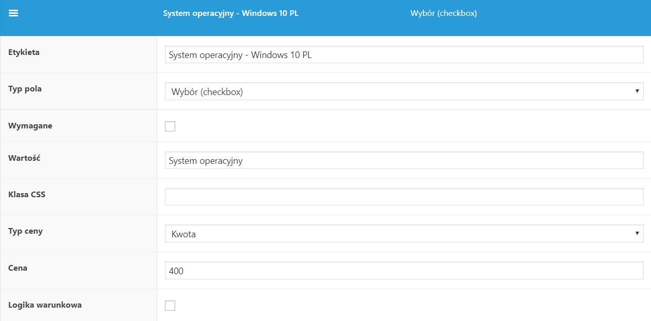 Konfiguracja laptopa w WooCommerce - system operacyjny