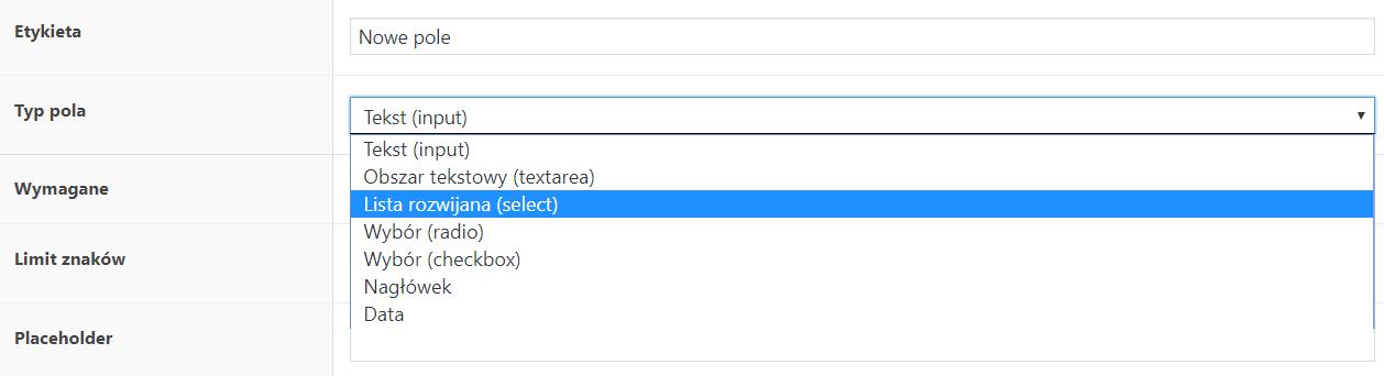 Typu pól - Flexible Product Fields