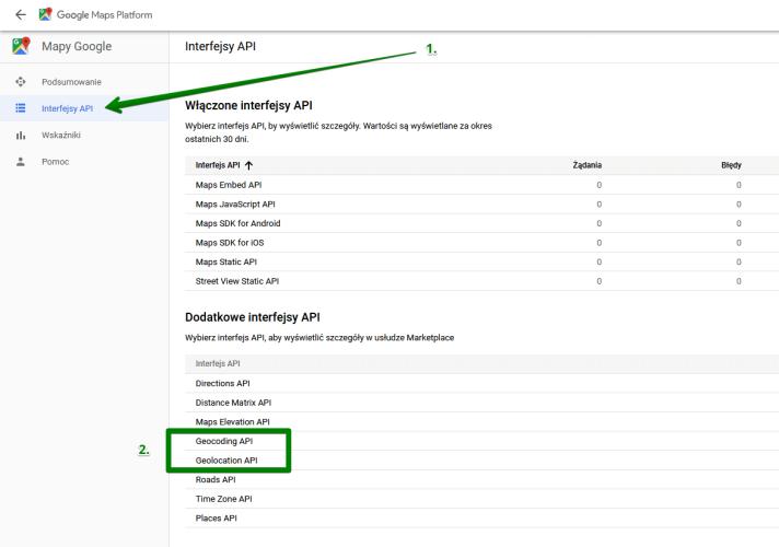 Dodatkowe interfejsy API
