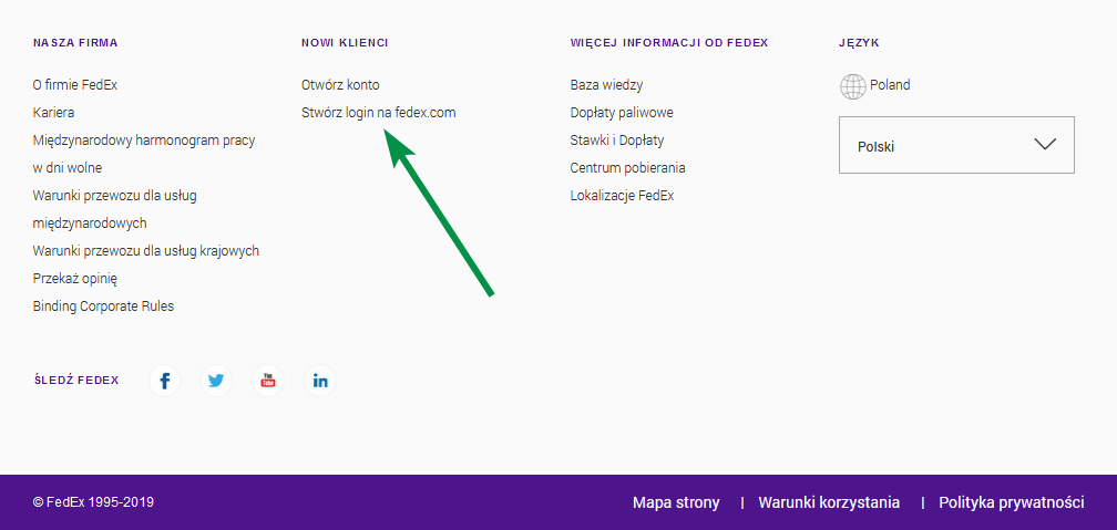 FedEx - Stopka - Stwórz login na fedex.com