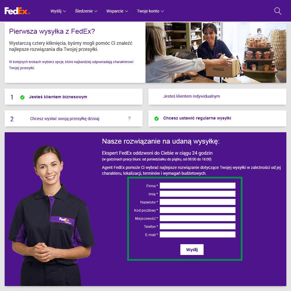 FedEx - Formularz kontaktowy