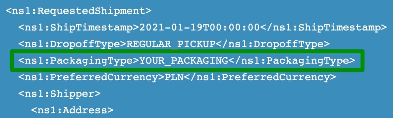 FedEx WooCommerce - YOUR_PACKAGING w requeście do API