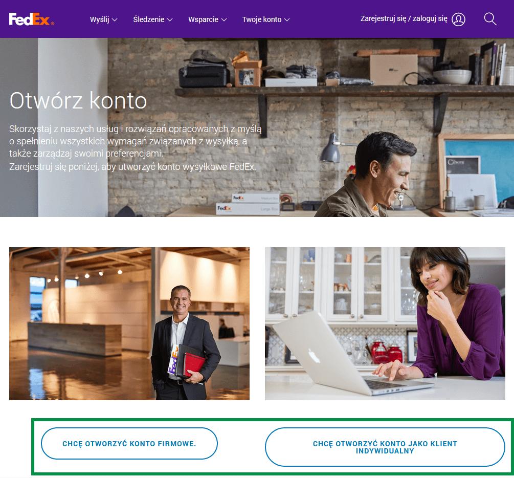 FedEx - Konto firmowe / Konto indywidualne