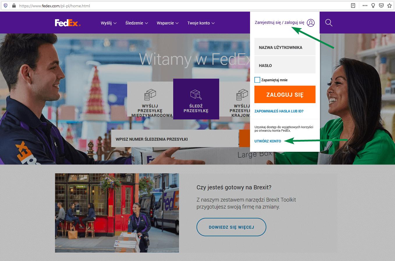 FedEx - Zarejestruj się / Zaloguj się > UTWÓRZ KONTO