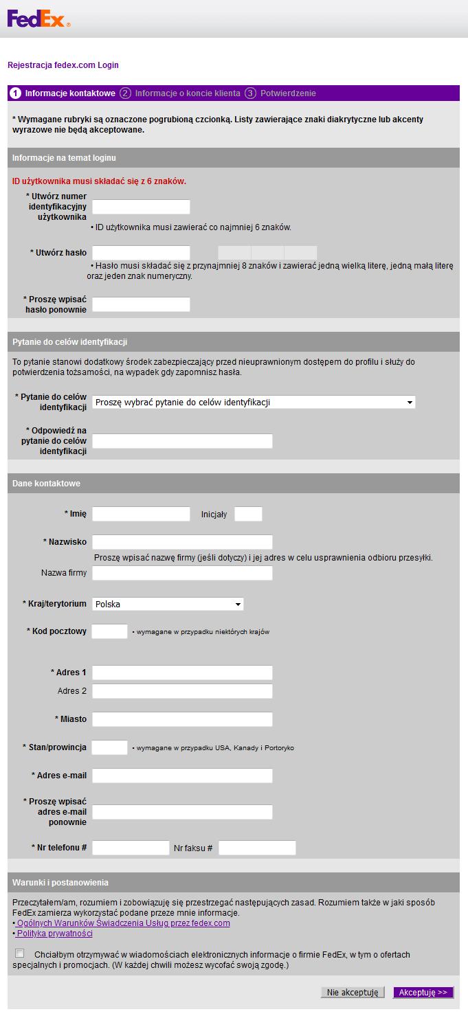 FedEx - Dostęp API - Formularz