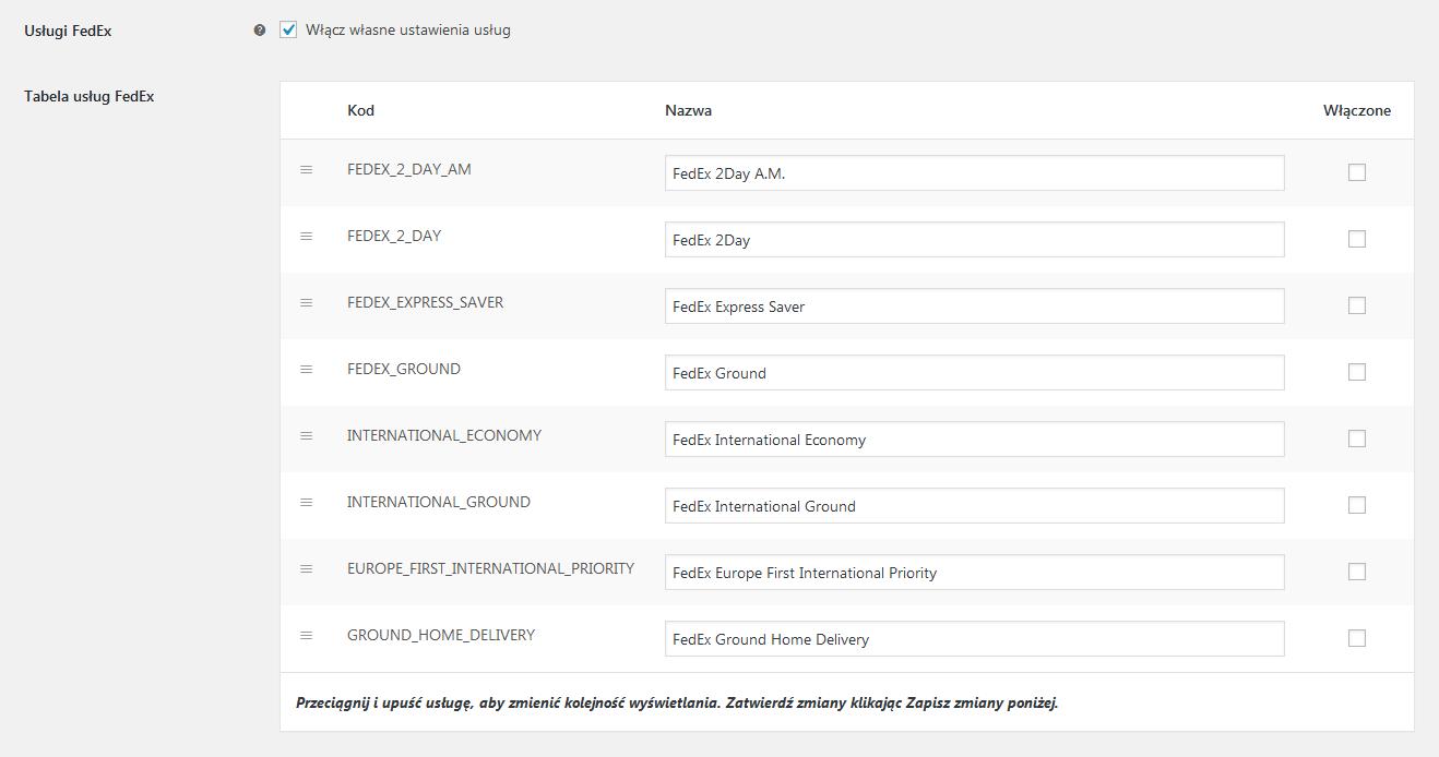 FedEx WooCommerce - Ustawienia - Własne ustawienia usług