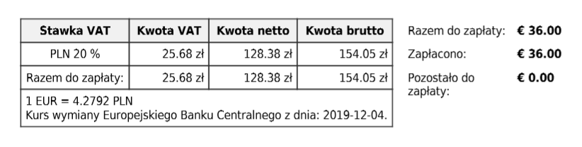 Tabela przewalutowania
