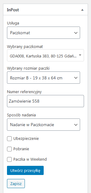 InPost WooCommerce metabox Paczkomat
