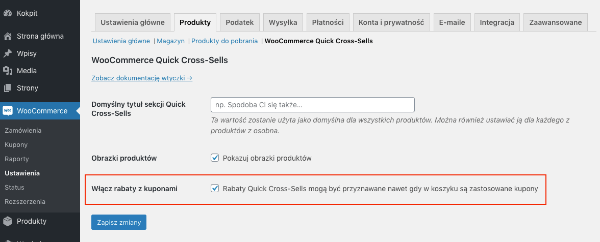 Rabaty Quick Cross Sells WooCommerce