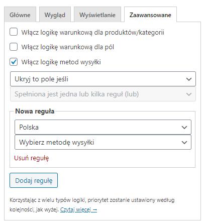 Ustawienia pól zamówienia polska