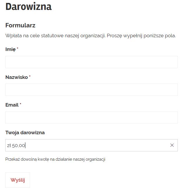 Formularz darowizny WordPress
