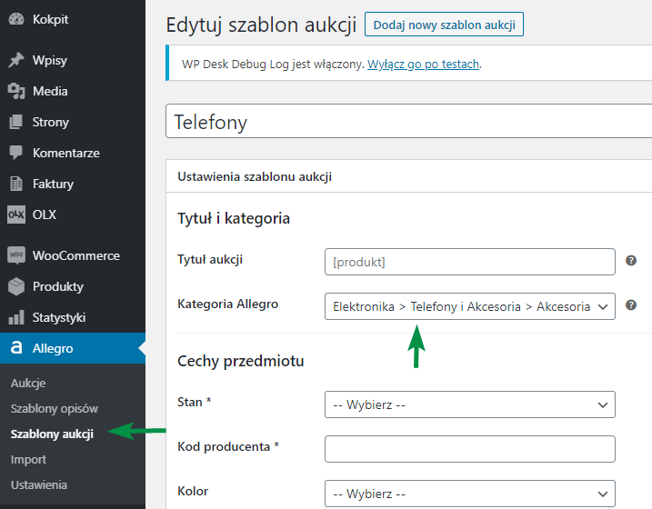 Allegro szablon aukcji kategoria