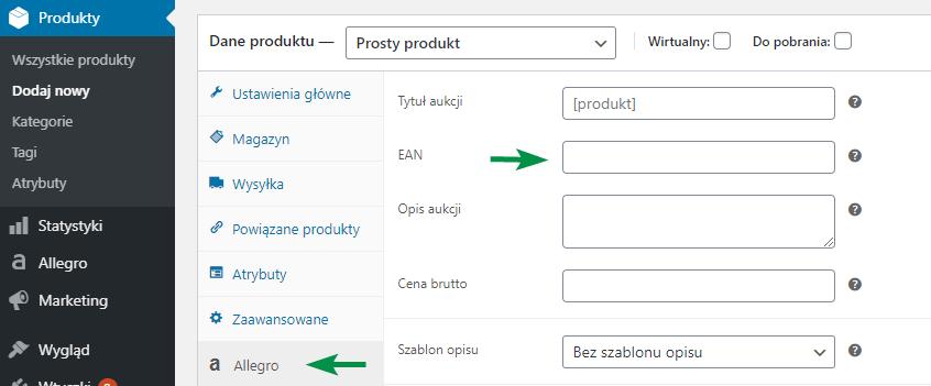 Import pole EAN produkt