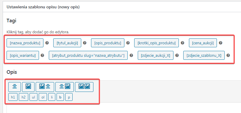 Nowy szablon opisu tagi shortcode