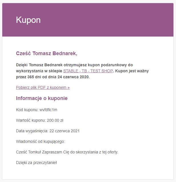 Email z kuponem PDF