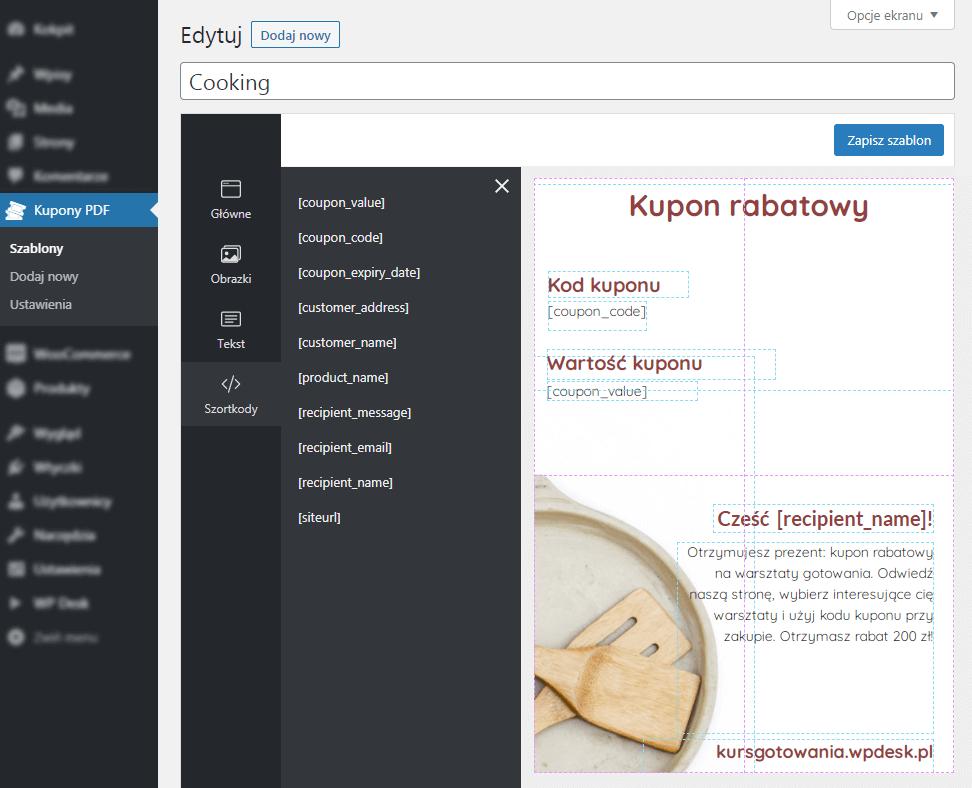 Kupony PDF WooCommerce - Edytor