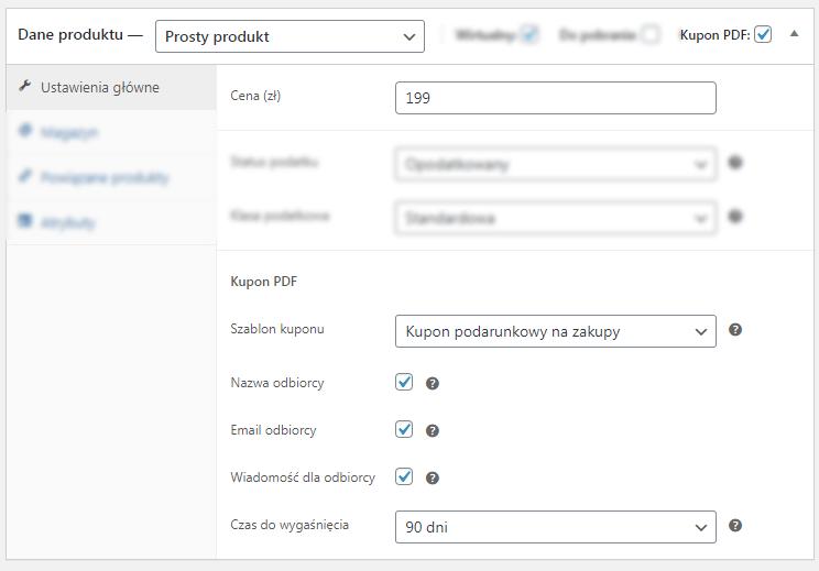 Kupony PDF WooCommerce- ustawienia produktu